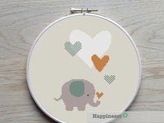 cross stitch pattern elephant with hearts, modern cross stitch, PDF, ** instant download**