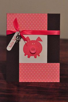 Items similar to Piggy Baby Girl Greeting Card, Baby Shower, Birthday, Hello Baby, Button, Pink, Brown, White, Ribbon, Charm, Blank Inside, Stamped on Etsy
