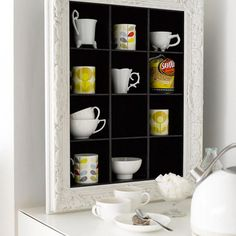 Oooh love the idea of framing your mugs so that they become storage and decor at the same time. @Margaux