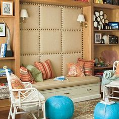 Upholstered wall in the nook!  Hooked on Nooks: The Top 100 Nook Ideas - Style Estate -