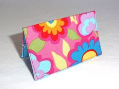 Bold Pink and Blue Floral Business Card Holder or by ShastaBlue, $8.00