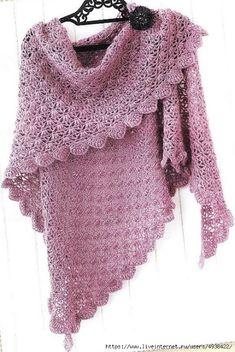 Modèle gratuit : un joli châle au crochet (Mes favoris tricot-crochet) Poncho Crochet, Crochet Shawl Diagram, Crochet Shawls And Wraps, Crochet Scarves, Diy Crochet, Crochet Clothes, Crochet Baby, Crochet Dresses, Crochet Blouse