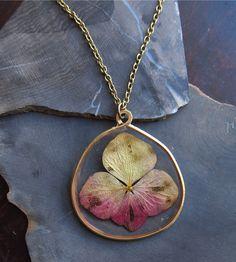Hydrangea Pressed Flower Necklace