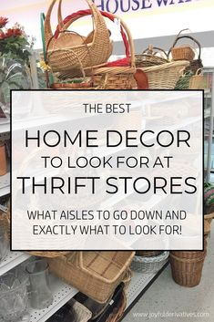 The Best Home Decor To Look for at Thrift Stores - Joyful Derivatives Thrifty De. The Best Home Decor To Look for at Thrift Stores - Joyful Derivatives Thrifty Decorating / Budget-Friendly Decor / Affordable Decor / Cheap Decor / Frugal Decorating. Thrifty Decor, Easy Home Decor, Home Decor Items, Cheap Home Decor, Thrift Store Shopping, Thrift Store Crafts, Shopping Hacks, Thrift Store Finds, Flea Market Crafts