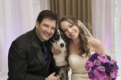 Dog in wedding with purple bouquet found on Modern Jewish Wedding Blog. Photographer: Altf Photography