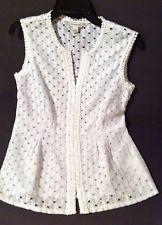 Banana Republic Circle Lace Top White Sleeveless V Neck Tunic Shirt