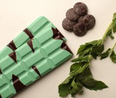 55% dark chocolate layered with peppermint flavored white chocolate.