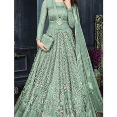 Impressive Looking  Green Net  With Embroidery Work With Long Anarkali Gown