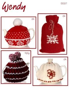 Tea Cosy and Hot Water Bottle Cover in Wendy DK and 4 Ply - 5597 - Cozy up with this collection of Wendy DK and 4 ply knitting patterns. Three teacozies and a fantastic Scandinavian-style snowflake hot water bottle cover. Knitting Patterns Uk, Jumper Knitting Pattern, Weaving Patterns, Hand Knitting, Crocheting Patterns, Knitted Tea Cosies, Water Bottle Covers, Yarn For Sale, Christmas Tea