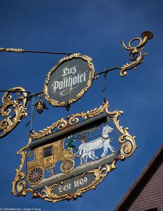 "Tavern-sign of 'Luz Posthotel' by SafariBear Photography / Architecture / Other SafariBear Sign of the renowned old hotel ""Luz Posthotel"" in Freudenstadt, Germany (Black Forest region). Blade Sign, Container Bar, Storefront Signs, Pub Signs, Decorative Signs, Business Signs, Store Signs, Advertising Signs, Hanging Signs"