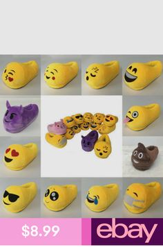 fbf1a833e282 Cute Emoji Winter Warm Soft Plush Indoor Pajama Home Slippers Shoes in  Clothing