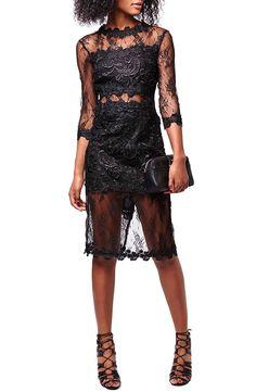 Topshop Illusion Lace Body-Con Dress (Petite)