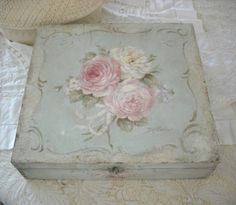 Debi Coules  - Shabby French Chic Art. Debi usually paints a small bud or ribbon, inside any boxes she paints, for a nice finishing touch.