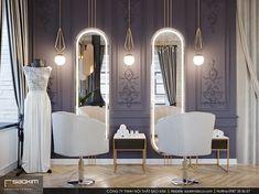 Gam màu tím và vàng là những màu sắc thường được sử dụng cho phong cách hoàng gia cổ điển. Nó tượng trưng cho sự thịnh vượng. Các chi tiết mạ vàng lấp lánh càng làm toát lên vẻ sang trọng. #saokimdecor #thiếtkế #thietke #spagreen #thietkenoithat #thicongnoithat #noithat #nộithất #phongkhach #thietkephongkhach #spa #thietkespa #nail #nailshop #interior #apartment #apartmentdecor #designinterior #spadecor #designspa Oversized Mirror, Salons, Spa, Design Shop, Furniture, Beauty, Home Decor, Lounges, Decoration Home