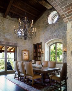 All of my favorite building elements at the Nicholas Residence, Rancho Santa Fe.  Stone, wood, and iron.  Classy.