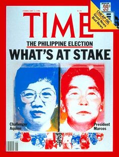 Corazon Aquino and Ferdinand Marcos | Feb. 3, 1986