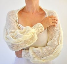 Shrug Bolero Bridal Shrug Long Sleeved Ivory por reflectionsbyds