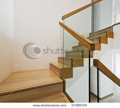 Contemporary Stair Case With Wooden Steps And Glass Rails   Buy This Stock  Photo On Shutterstock U0026 Find Other Images.