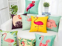 Fashion flamingo pillow for living room linen decorative throw pillows