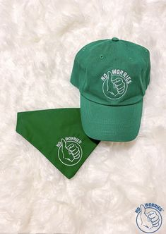 Green hat $25 and medium size dog bandana $14 Match you pup!