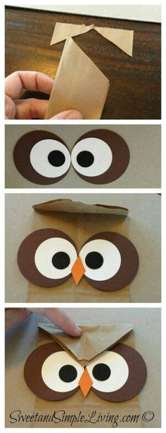 Crafts: Easy Treat Bag (Perfect for Parties) Owl Crafts: Easy Treat Bag (Perfect for Parties)Owl (disambiguation) Owls are nocturnal birds of prey. Owl, Owls or OWL may also refer to: Fall Crafts, Diy And Crafts, Crafts For Kids, Arts And Crafts, Paper Crafts, Diy Paper, Owl Treat Bags, Owl Treats, Owl Birthday Parties