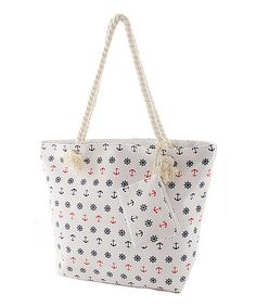 Look what I found on #zulily! White & Navy Anchor Canvas Tote by Love, Kuza #zulilyfinds