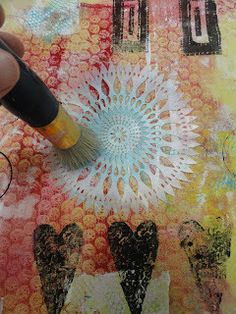 Tutorial for Layered Monoprinted Collage Painted Fabric