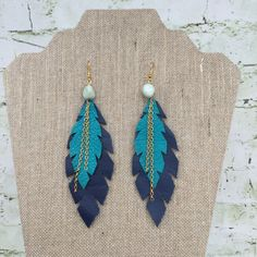 Layered Feather Earrings Navy/Teal