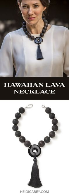 This lava stone necklace features textured black lava beads and black silk tassel in contrast with a highly polished, black onyx pendant. A minimalist look that goes beyond basic, our black tassel necklace makes a statement with oversized chunky beads. The dark color of natural lava rock cannot be replicated by any other stone and is the symbol of the fiery power of mother nature. Black Lava Necklace | Lava Bead Necklace | Chunky Necklace | Black Necklace | Style Over 40 | Hawaiian Lava