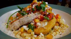 Smokin' Swordfish with Masa Cakes and Nectarine Salsa | awinkandapinch