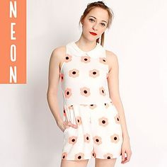 Hearts and Bows Cream Delacy Neon Daisy Collared Pla Ark Clothing, Short Playsuit, Stationery Items, Collars, Daisy, Hearts, Neon, Bows, Cream