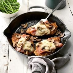 This recipe has become a new favorite. Slices of ham, swiss cheese, sauteed mushrooms over chicken breast. Easy to make and taste as good as it looks.