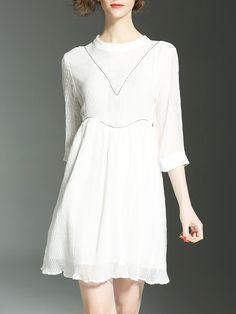 Buy it now. White Pleated Hollow A-Line Dress. White Round Neck Half Sleeve Polyester A Line Short Plain Fabric has some stretch Summer Elegant Day Dresses. , vestidoinformal, casual, camiseta, playeros, informales, túnica, estilocamiseta, camisola, vestidodealgodón, vestidosdealgodón, verano, informal, playa, playero, capa, capas, vestidobabydoll, camisole, túnica, shift, pleat, pleated, drape, t-shape, daisy, foldedshoulder, summer, loosefit, tunictop, swing, day, offtheshoulder, smock,...