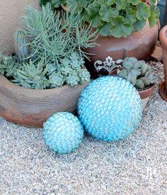 DIY faux Gazing Ball for Garden Decor