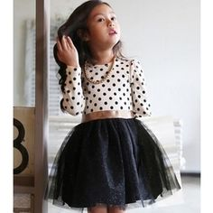 Vestido Infantil Princesa com Bolinhas Manga Comprida
