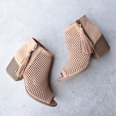 Olivia perforated ankle booties - toffee - shophearts