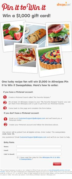 Allrecipes.com Pin it to Win it Sweepstakes