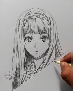 braided-hair-how-to-draw-anime-step-by-step-black-and-white-sketch # Braids drawing anime ▷ 1001 + ideas and tutorials, easy DIYs for every season Anime Drawings Sketches, Pencil Art Drawings, Cool Art Drawings, Anime Sketch, Anime Character Drawing, Manga Drawing, Manga Art, Violet Evergarden Anime, Art Sketchbook