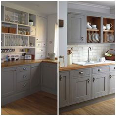 backsplash ideas for gray and white kitchen cabinets black hardware - Yahoo Image Search Results Refacing Kitchen Cabinets, Grey Cabinets, Painting Kitchen Cabinets, Diy Interior, Interior Design, Wooden Kitchen, New Kitchen, Kitchen Grey, Kitchen Shades