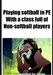 Playing softball with non softball players ''im surrounded by idiots''