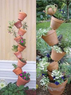 DIY garden decoration ideas with clay pots that you can easily make yourself . DIY garden decoration ideas with clay pots that you can easily make yourself - DIY garden decoration ideas - DIY flower . Garden Planters, Indoor Garden, Outdoor Gardens, Balcony Garden, Gravel Garden, Garden Water, Big Garden, Garden Stones, Planter Pots