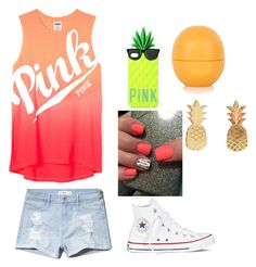 """""""Summer Outfit"""" by starbucksmoney ❤ liked on Polyvore featuring Converse, Victoria's Secret PINK, Topshop and Vinca"""