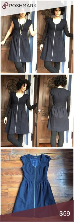 "Club Monaco Navy Wool Blend Zipper Dress Such a versatile dress! Wear it sleeveless in the fall/spring or layered in winter. Lined. In excellent condition. Beautiful details and stitching. I'm 5'7"" for reference. Fits TTS. Club Monaco Dresses Midi"