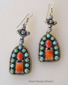 Earrings | Don Lucas.   Lapis, blue & green turquoise, spiny oyster, on sterling silver