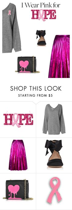 """""""For hope"""" by gabrielleleroy ❤ liked on Polyvore featuring STELLA McCARTNEY, Gucci, Gianvito Rossi, Love Moschino and breastcancerawareness"""