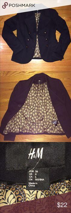 Beautiful Black H&M Blazer! Basically new condition black blazer with gold/brown leaf pattern inside. H&M Jackets & Coats Blazers