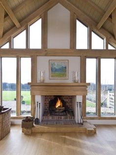 Inglenook fireplace in glazed oak frame gable, by Roderick James Architects House Design, House, Timber Frame Homes, Oak Frame House, Inglenook Fireplace, Building A House, House Inspiration, New Homes, Inglenook