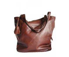 Grand sac cabas cuir marron cognac - Modèle PRUDENCE | Saheline.com