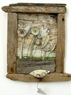 Love Token iiii by Shirley Vauvelle in Wall Hung Archive, Ceramics using Earthenware,driftwood vintage sheet music. Driftwood Sculpture, Driftwood Crafts, Found Art, Assemblage Art, Paper Clay, Recycled Art, Old Wood, Beach Art, Clay Projects