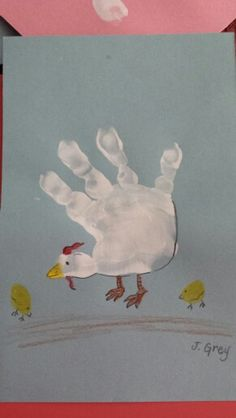 C is for chicken handprint craft